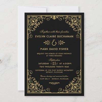 Vintage Black and Gold Art Deco Wedding Invitation