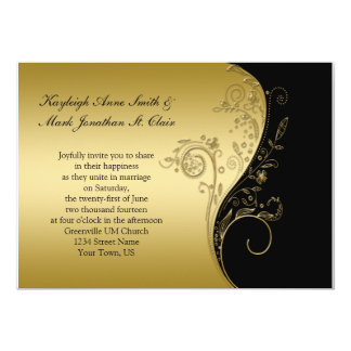 Vintage Black and Gold Floral Swirls Wedding Card