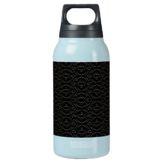 vintage black and gold pattern insulated water bottle