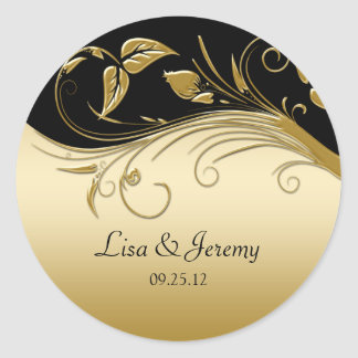 Vintage Black and Gold Save The Date Sticker