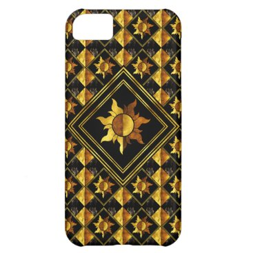 Vintage Black And Gold Sun Symbol Case For iPhone 5C