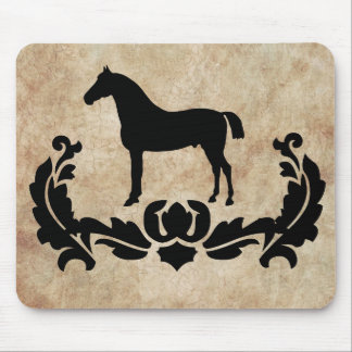 Vintage Black and Ivory Damask Horse Mouse Pad
