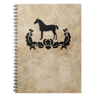 Vintage Black and Ivory Damask Horse Notebooks