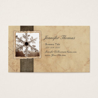 Vintage Black and Ivory Snowflake Business Card