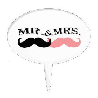Vintage Black and Pink Mustache Cake Topper