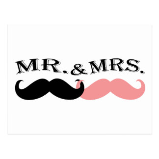 Vintage Black and Pink Mustache Postcard
