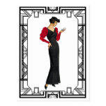 Vintage Black and Red 1930s Evening Gown Postcard