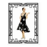 Vintage Black and White 1930s Beaded Dress Postcard