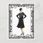 Vintage Black and White 1930s Sweater Dress Postcard