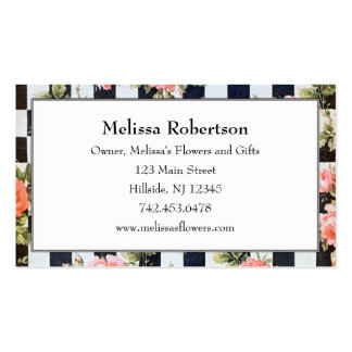 Vintage Black and White and Roses Business Cards