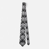 Vintage Black and White Art Deco Pattern Tie