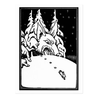 Vintage black and white art, rabbit in the snow postcard