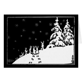 Vintage black and white art rabbits in the snow card