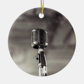 Vintage Black and White Audiophile Microphone Ceramic Ornament