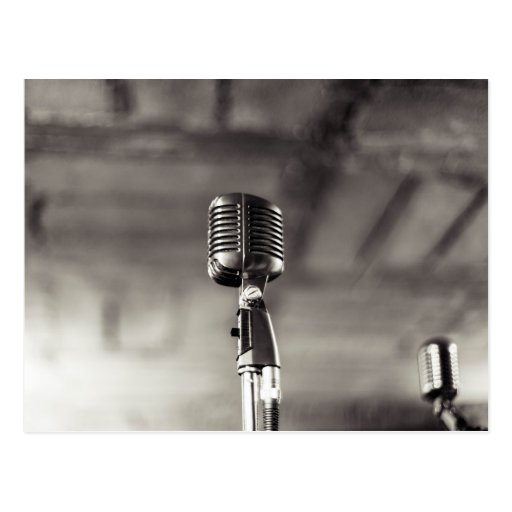 Vintage Black and White Audiophile Microphone Postcard ... Vintage Microphone Black And White