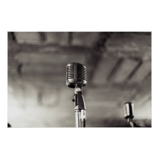 Vintage Black and White Audiophile Microphone Poster