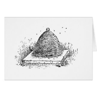Vintage Black and White Beehive Drawing Card