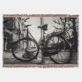 Vintage Black And White Bicycle Throw Blankets