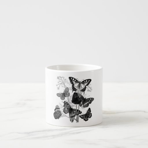 Vintage Black and White Butterflies Print 6 Oz Ceramic Espresso Cup