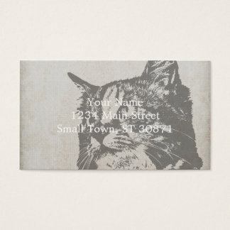 Vintage Black and White Cat Illustration Business Card