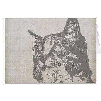 Vintage Black and White Cat Illustration Card