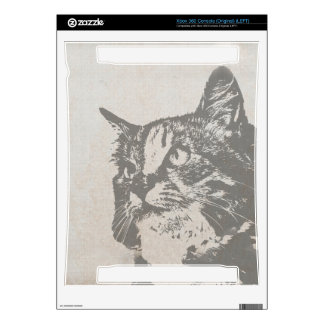 Vintage Black and White Cat Illustration Skins For The Xbox 360