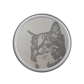 Vintage Black and White Cat Illustration Speaker