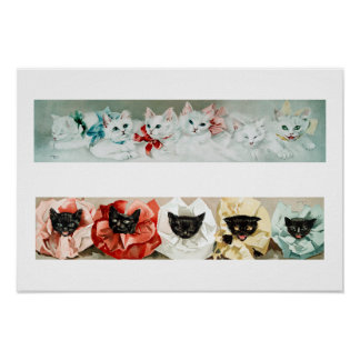 Vintage Black and White Cats - Lithograph by Janus Poster