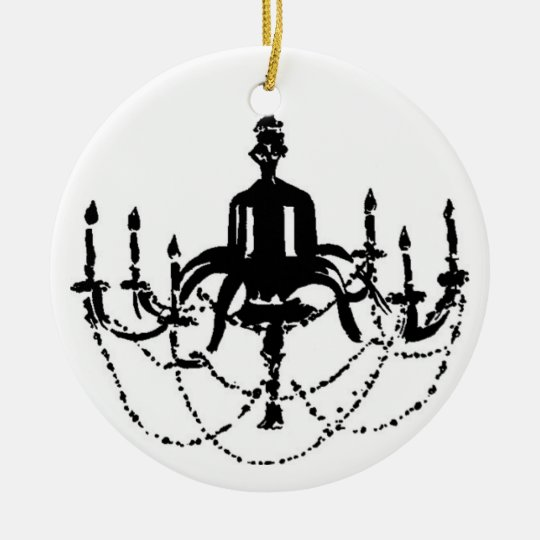 Vintage black and white chandelier...ornament ceramic ornament
