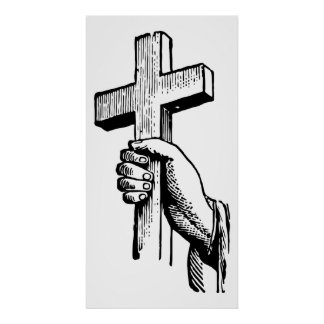 Vintage Black and White Christian Easter Cross Posters