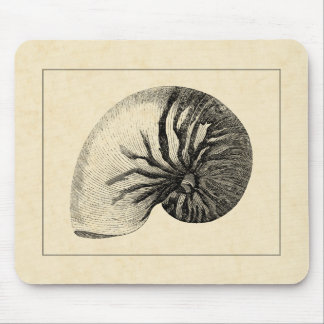 Vintage Black and White Conch Shell Mouse Pad