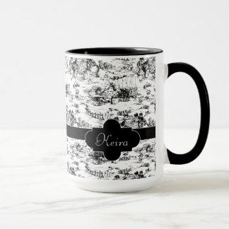 Vintage Black and White Country Toile Mug