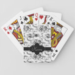 """Vintage Black and White Country Toile Playing Cards<br><div class=""""desc"""">Traditional rustic French pattern featuring pastoral scene with children dancing in a field. Customizable black label and band with white trim for your name or monogram.</div>"""