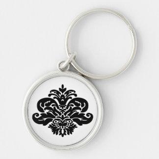 Vintage Black and White Damask Floral Keychain