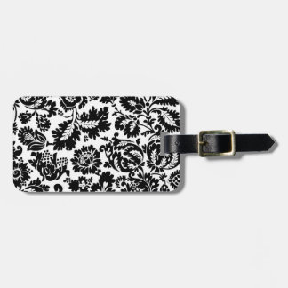 Vintage Black and White Damask Luggage Tag