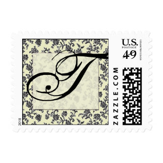 Vintage black and white damask pattern postage stamp