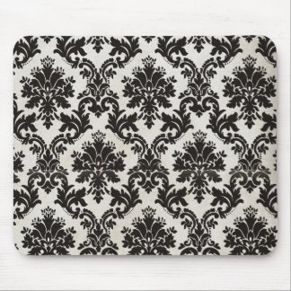Vintage Black and White Damask Wallpaper Mouse Pads