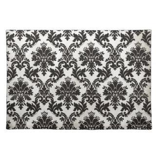 Vintage Black and White Damask Wallpaper Place Mat