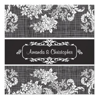Vintage black and white Damask Wedding Invitation