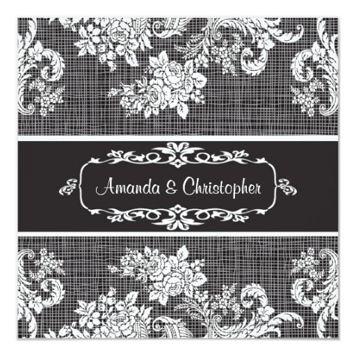 Vintage black and white Damask Wedding Invitation