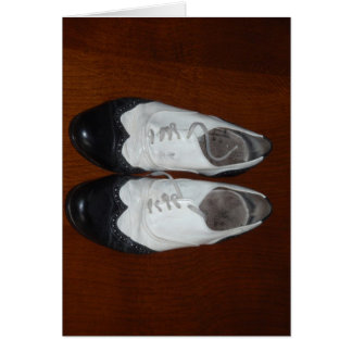 Vintage Black And White Dance Shoes Card
