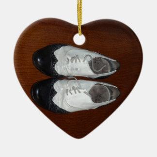 Vintage Black And White Dance Shoes Ceramic Ornament