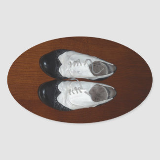 Vintage Black And White Dance Shoes Oval Sticker
