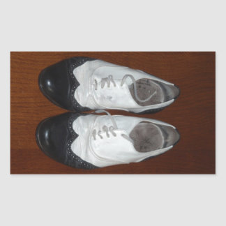Vintage Black And White Dance Shoes Rectangular Sticker