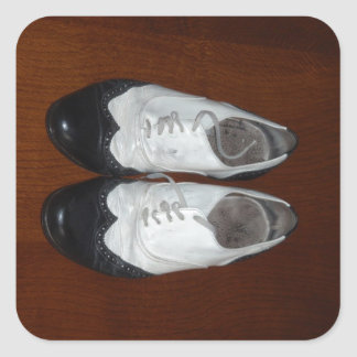 Vintage Black And White Dance Shoes Square Sticker
