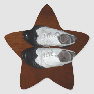 Vintage Black And White Dance Shoes Star Sticker