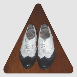 Vintage Black And White Dance Shoes Triangle Sticker