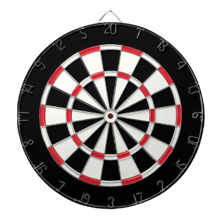 Vintage Black And White Dartboard With Darts