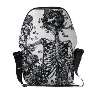 Vintage Black and White Death Head Skeleton Messenger Bag