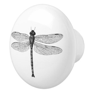 Vintage Black and White Dragonfly Illustration Ceramic Knob